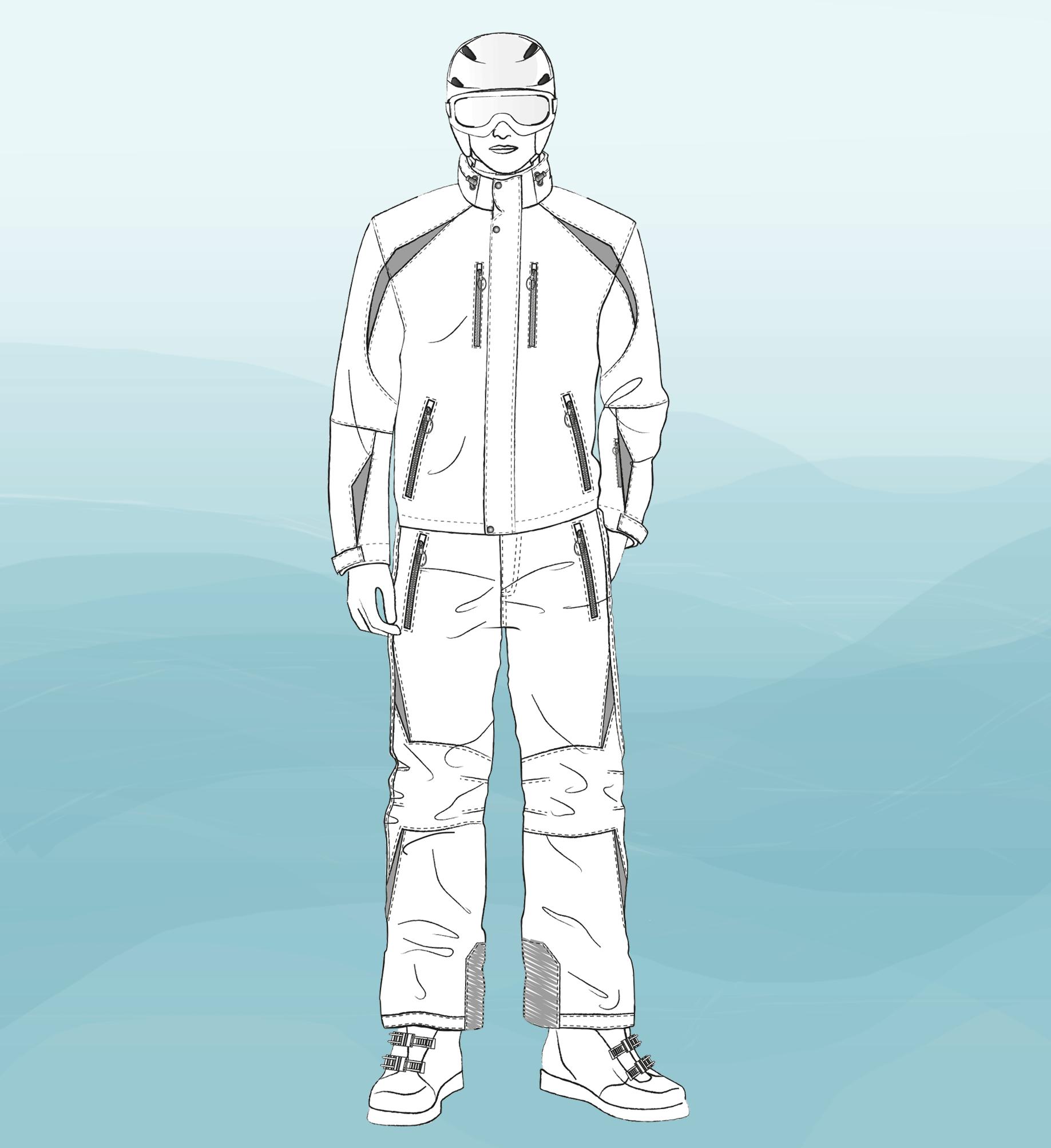 Abgebildet ist die technische Zeichnung von einer Skijacke und Skihose als Vorlage für die Schnitt-Technik