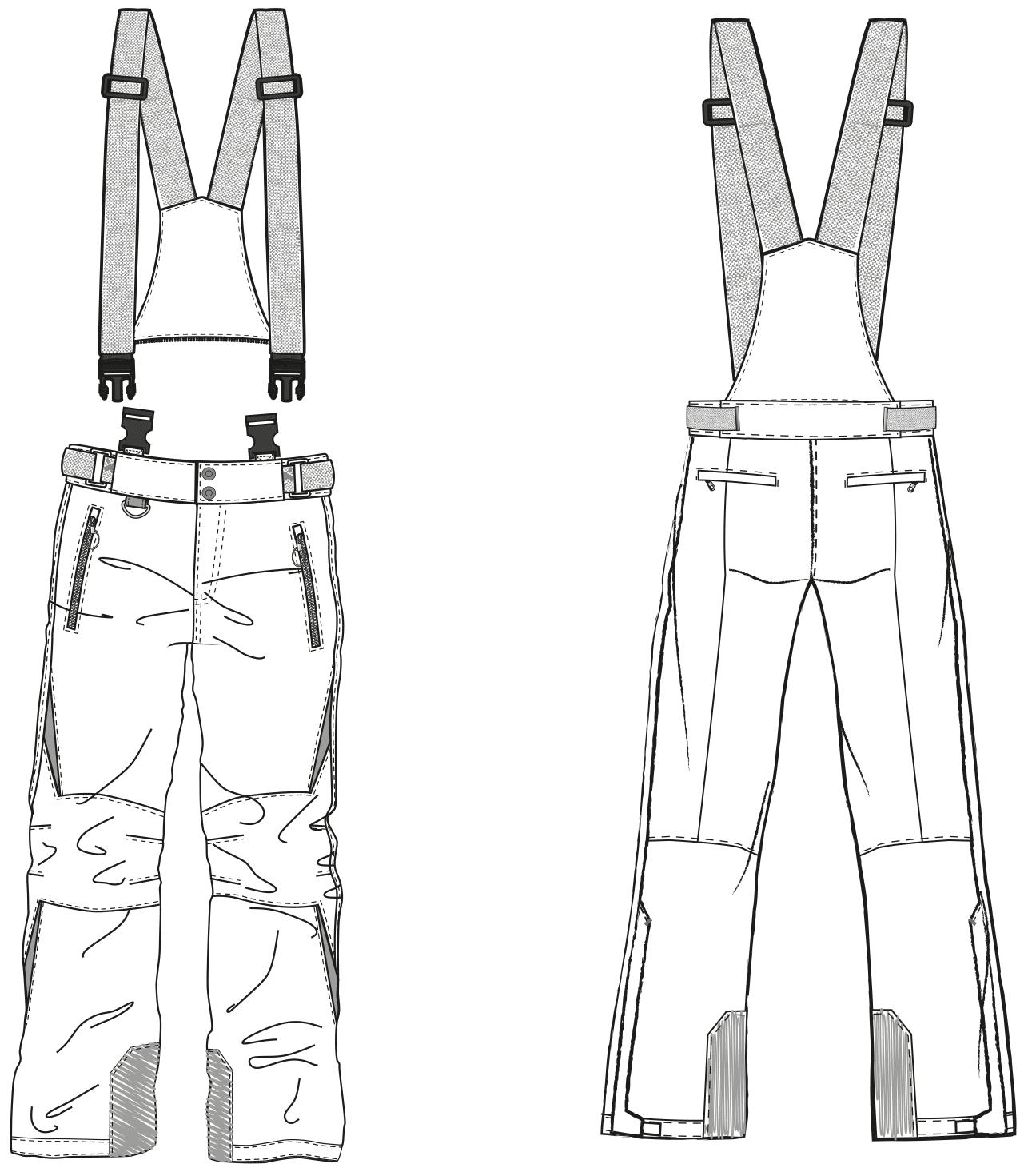 Abgebildet ist die technische Zeichnung von einer Skihose.
