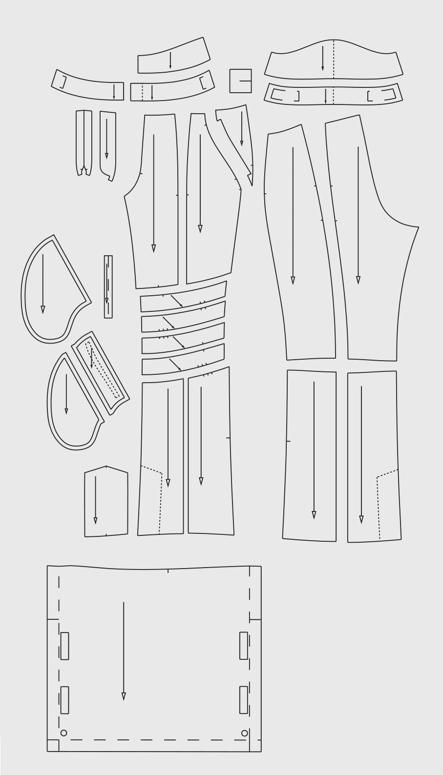 Zu sehen sind die fertigen Schnittteile der Schnittkonstruktion für die Skihose.