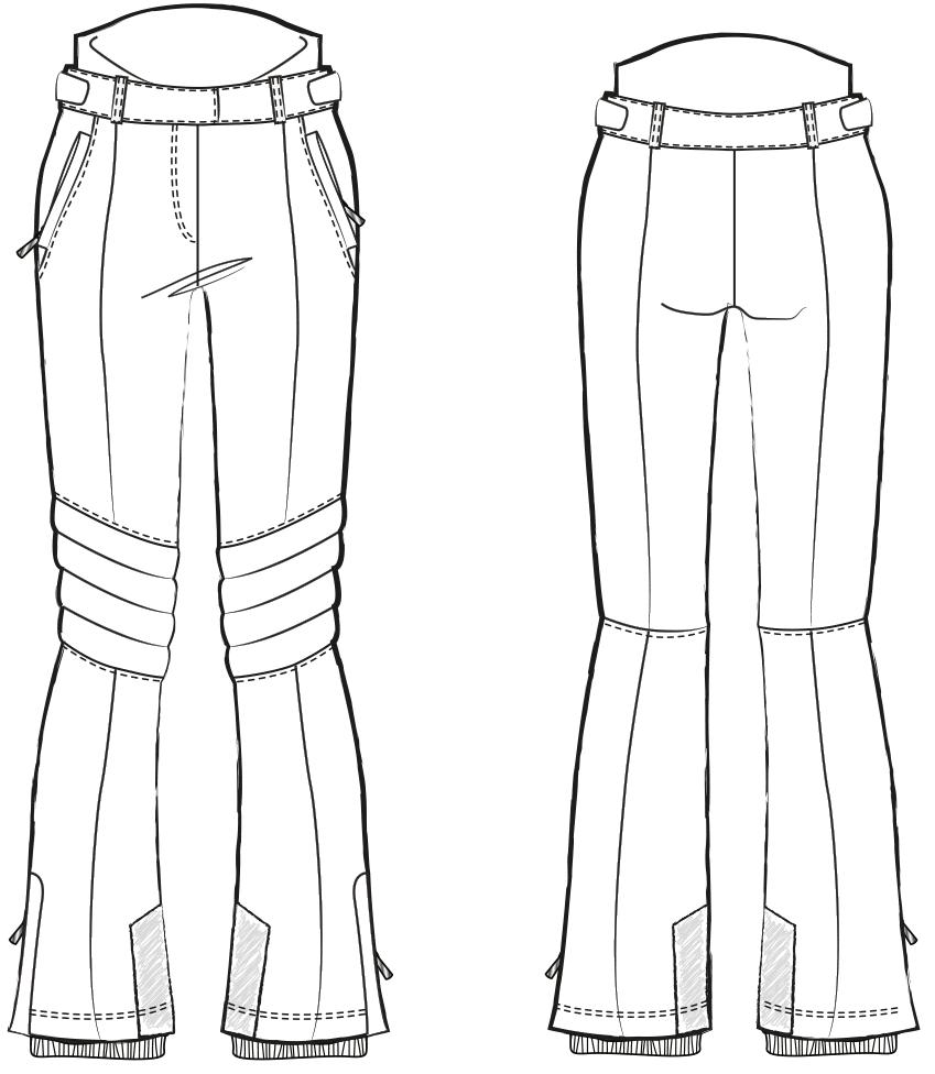 Zu sehen ist die technische Zeichnung der Skihose für die Schnittkonstruktion.