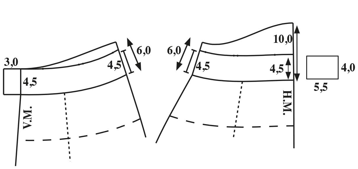 Zu sehen ist die Schnittkonstruktion des Bunds für die Skihose.