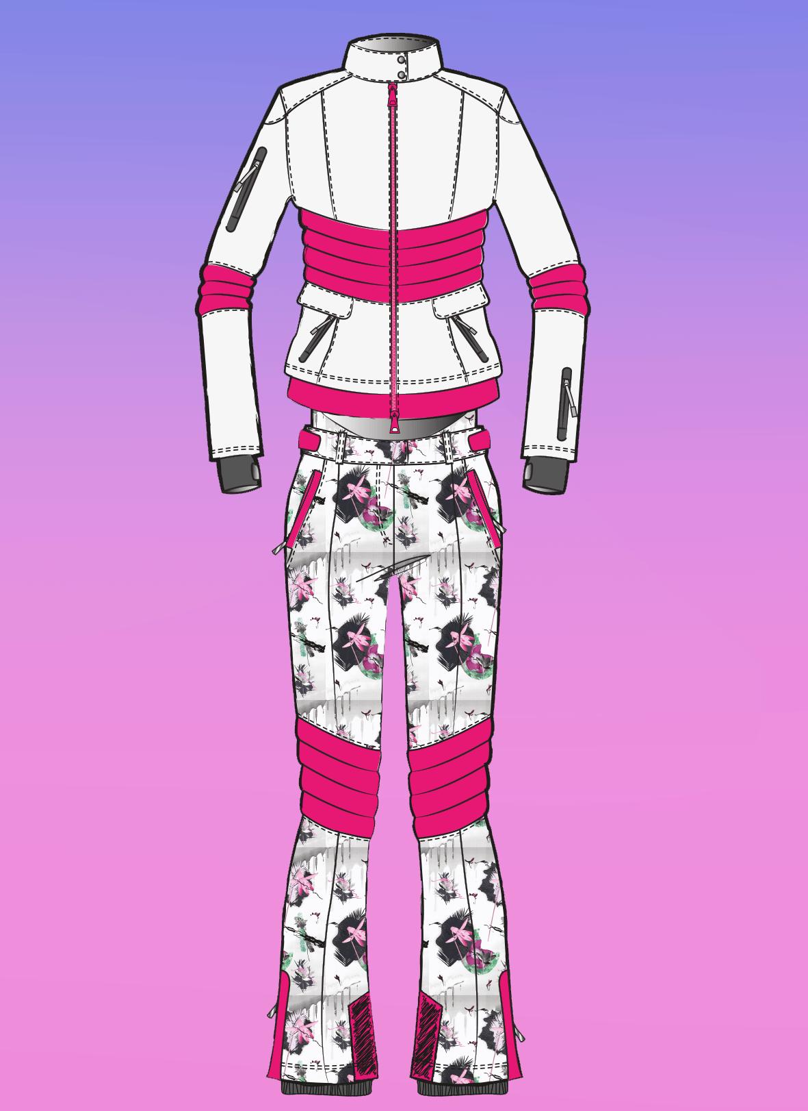 Zu sehen ist die technische Zeichnung der Skijacke und Hose