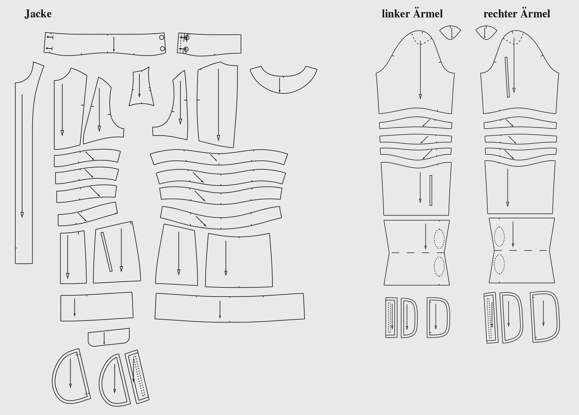 Zu sehen sind die fertigen Schnittteile der Schnittkonstruktion für die Skijacke.