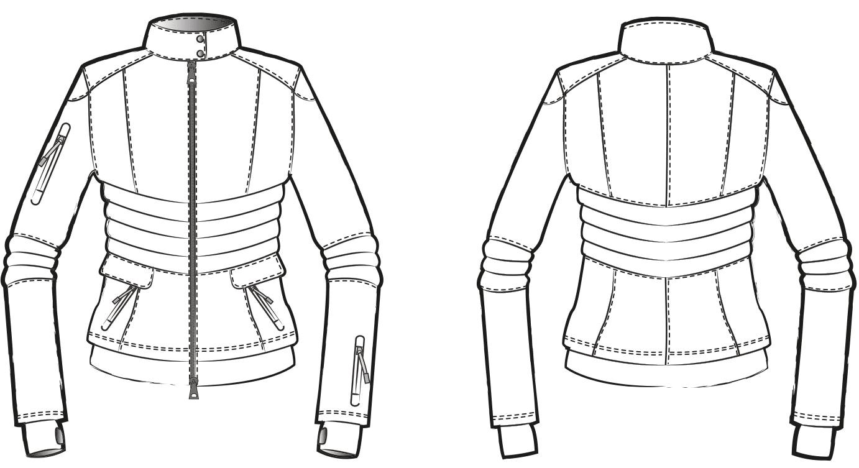 Zu sehen ist die technische Zeichnung der Skijacke für die Schnittkonstruktion.