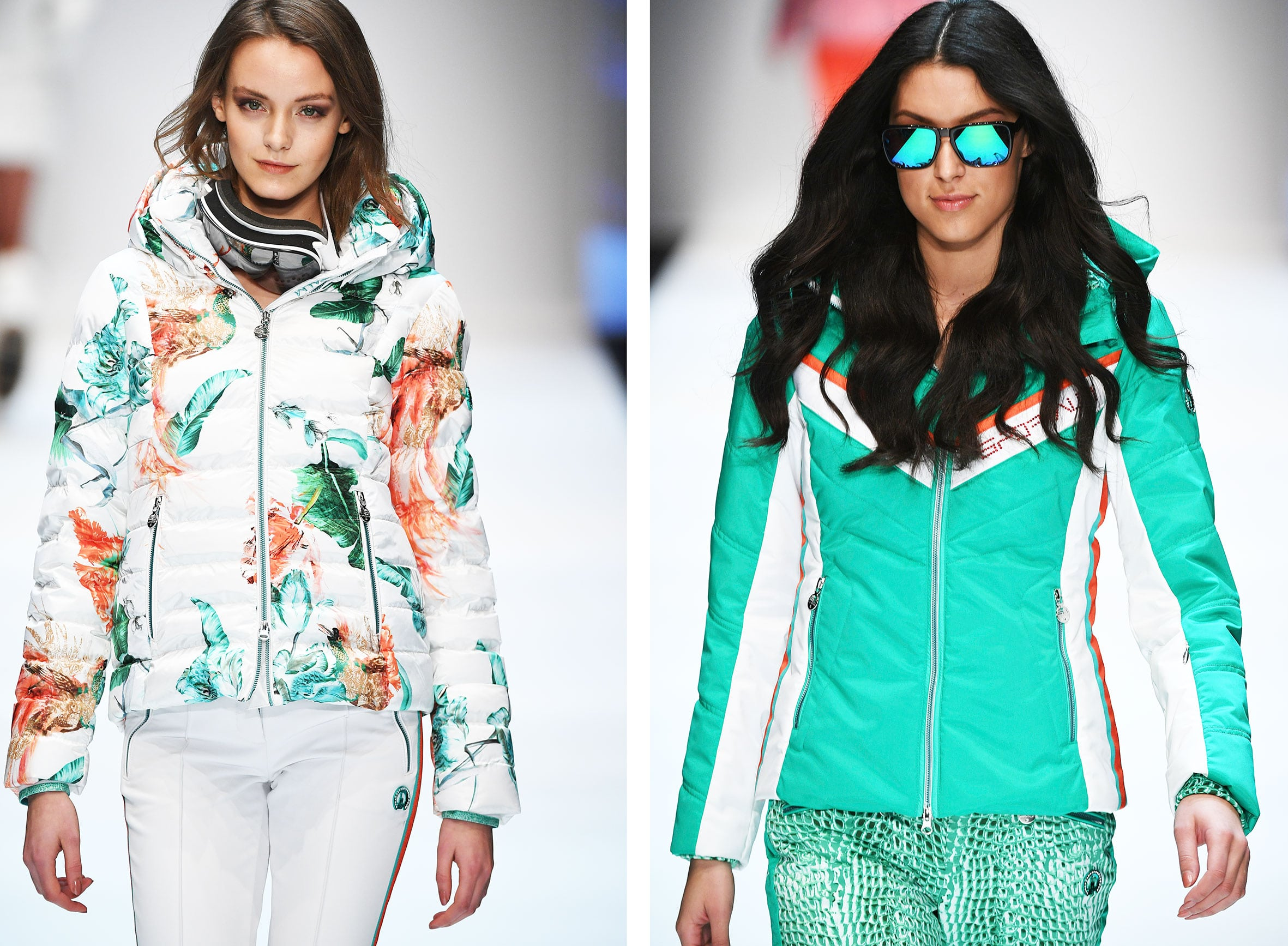 Zu sehen sind zwei Catwalkfotos mit Modellen die Skijacken tragen .