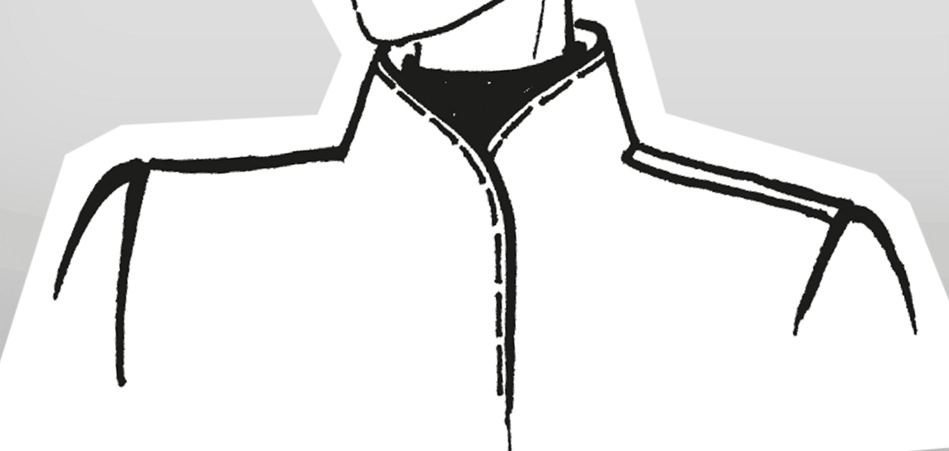 Zu sehen ist die technische Zeichnung eines angeschnittenen Stehkragens.