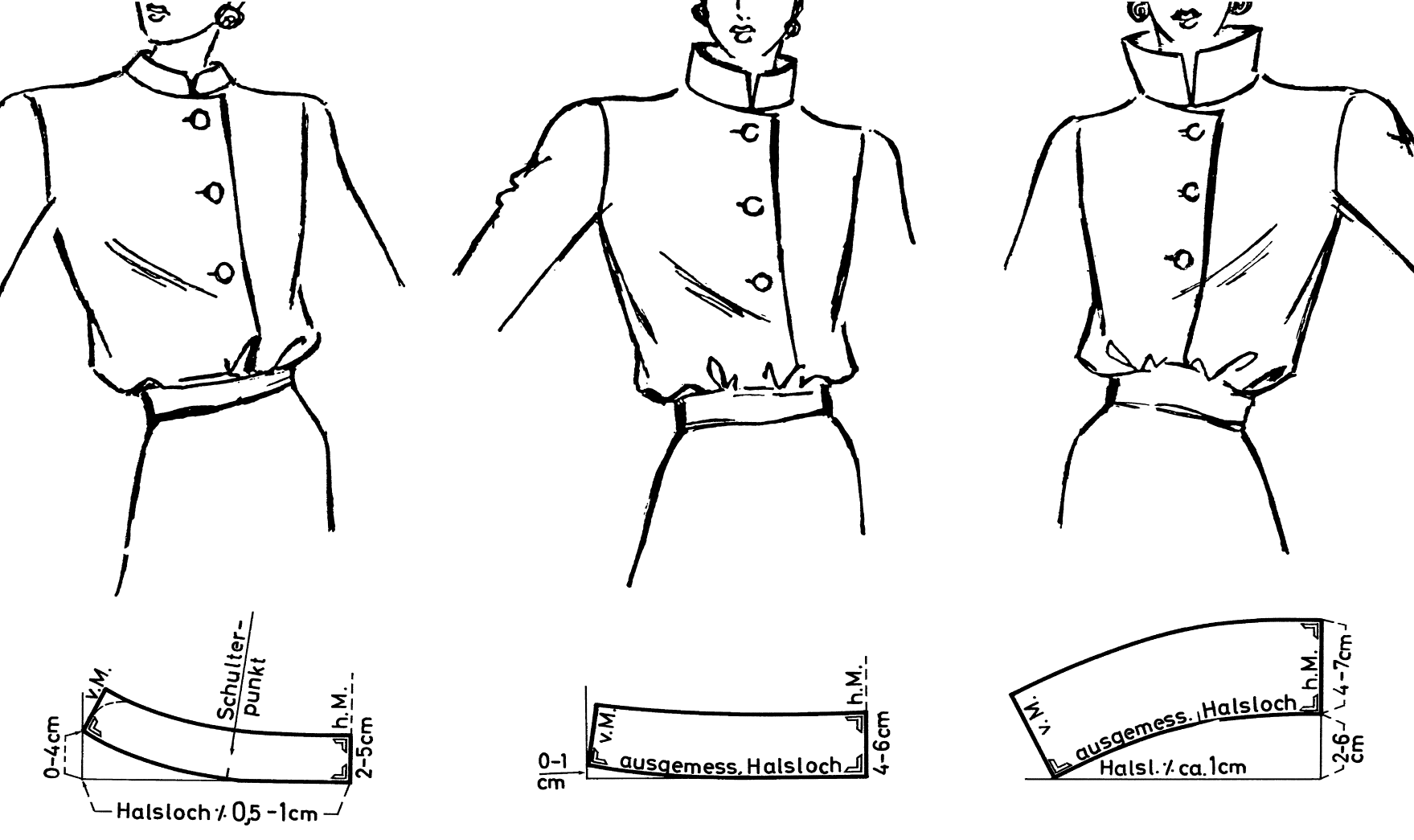 Zu sehen sind drei verschiedene Stehkragen Modelle und deren Schnittkonstruktion.