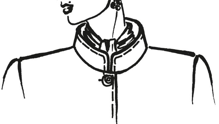Zu sehen ist die technische Zeichnung eines Stehkragens.
