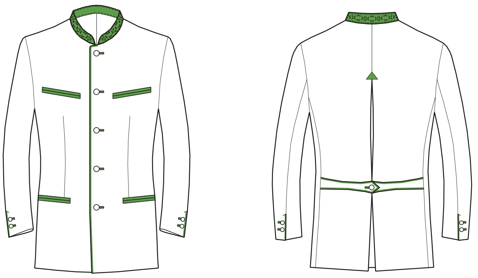 Gezeigt wird die Vorder- und Rückansicht der technischen Zeichnung einer Trachtenjacke.