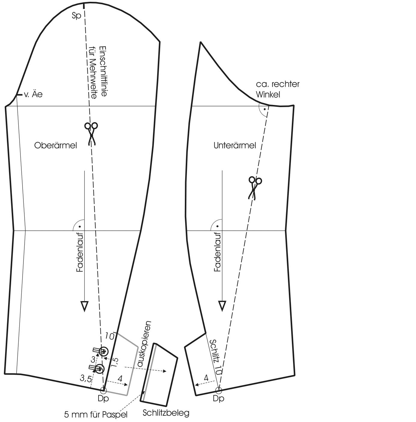 Gezeigt wird die Schnittkonstruktion von einem Ärmel für eine Trachtenjacke