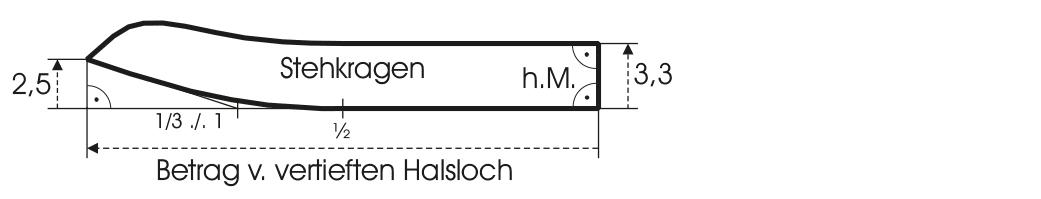 Gezeigt wird die Schnittkonstruktion von einem Kragen für eine Trachtenjacke.