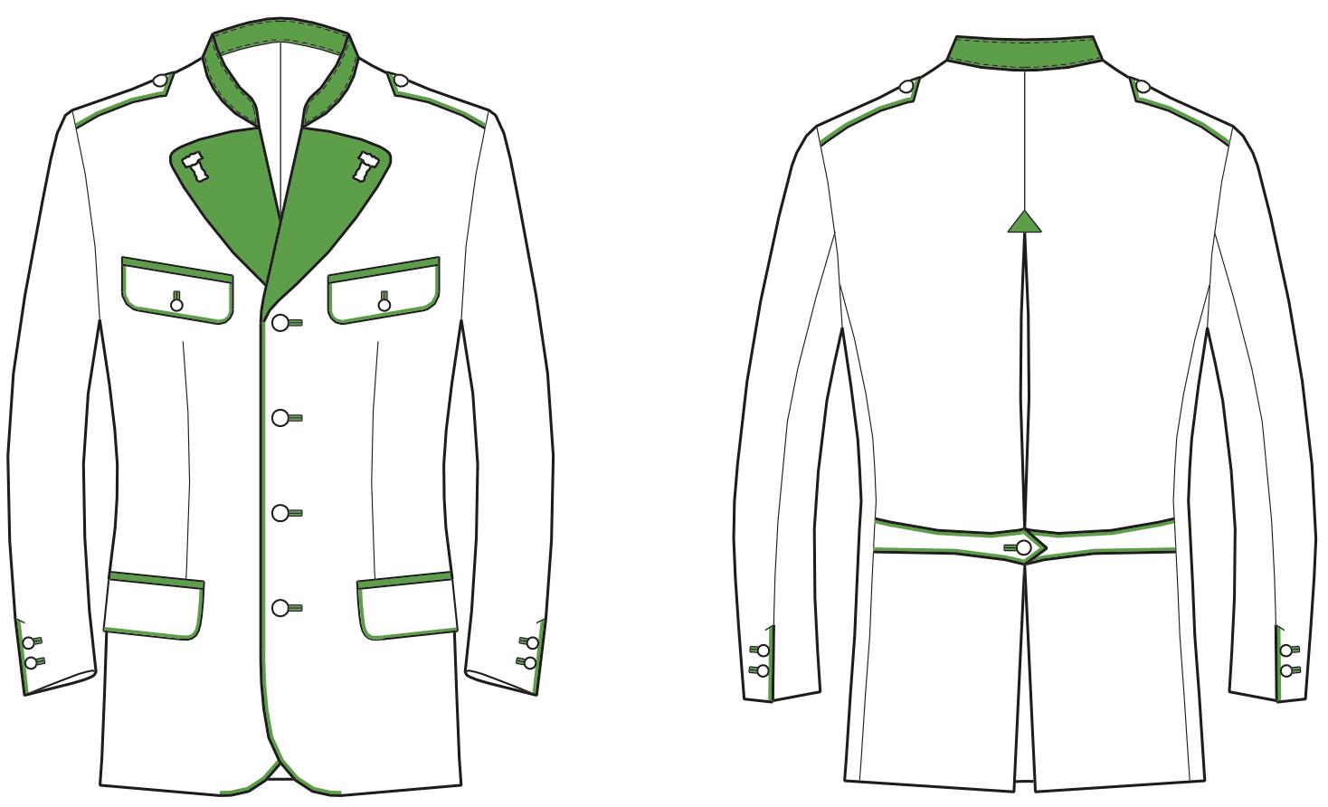 Gezeigt wird die Vorder- und Rückansicht der technischen Zeichnung einer Trachtenjacke
