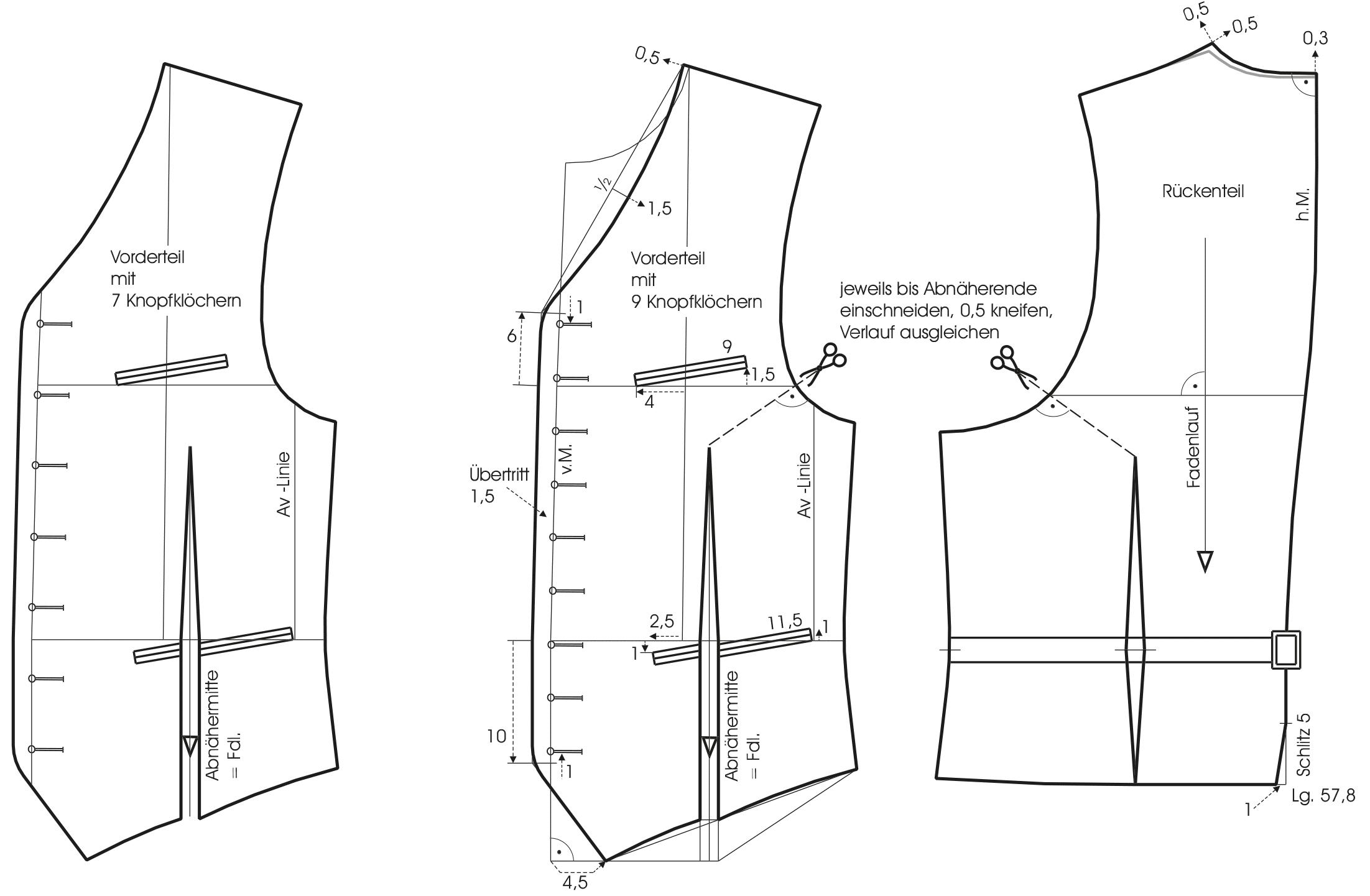 Gezeigt wird die Schnittkonstruktion einer Trachtenweste.