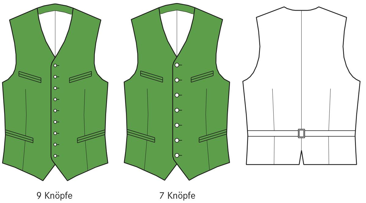 Gezeigt wird die Vorder- und Rückansicht der technischen Zeichnung einer Trachtenweste.