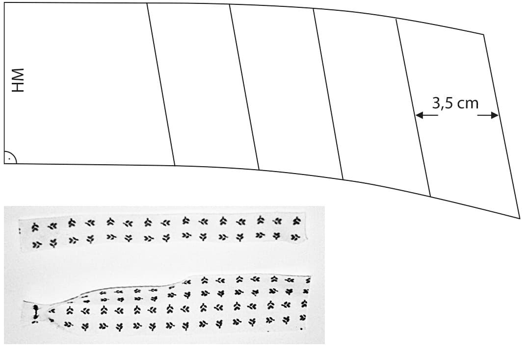 Die Schnittkonstruktion eines Umlegekragens mit Paspel ist abgebildet.