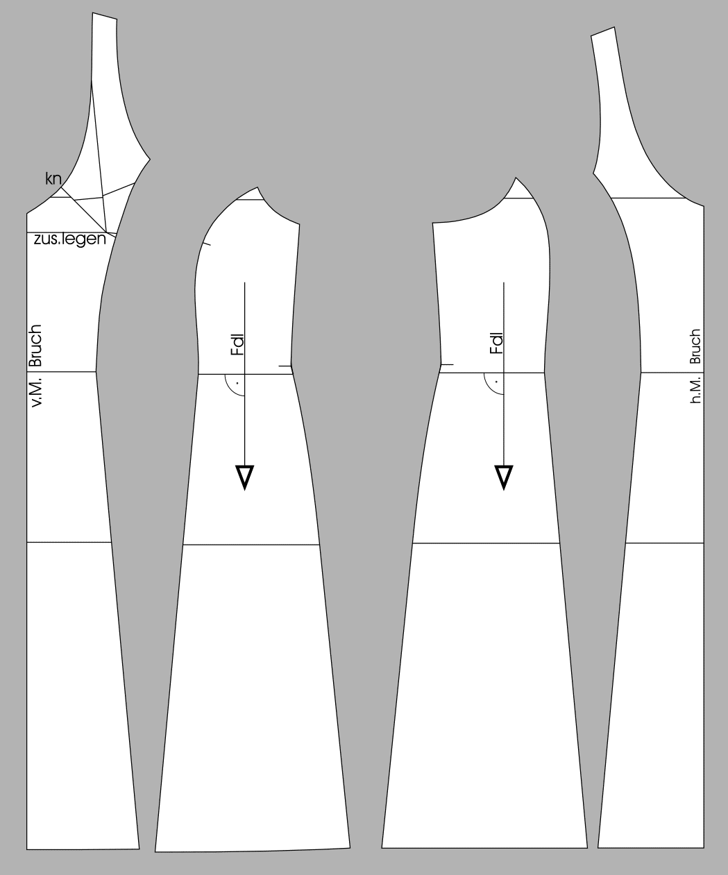Die Abbildung zeigt die fertigen Schnittteile eines Unterkleides.