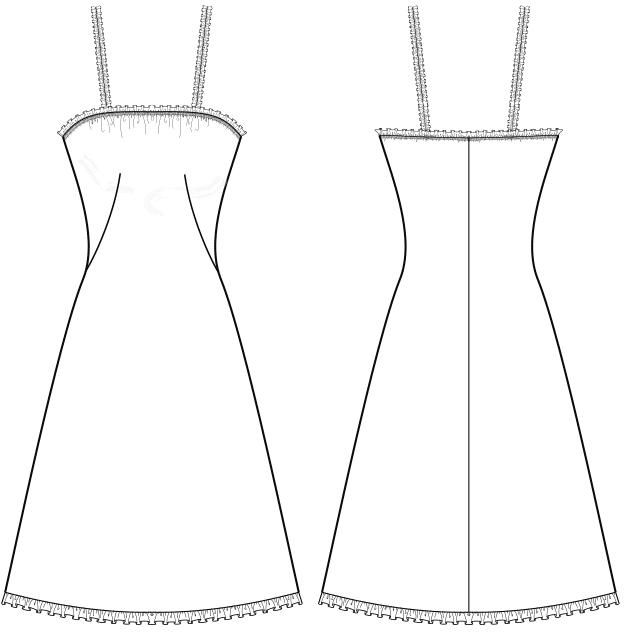 Die Abbildung zeigt die Schnitt-Technik von eines Unterkleides. Die Zeichnung dient als Vorlage für die Schnitterstellung.
