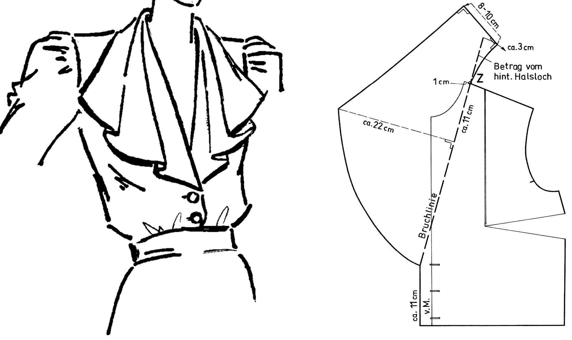 Zu sehen ist die technische Zeichnung imklusive Schnittkonstruktion eines Wasserfallkragens.