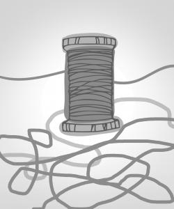 Zeichnung einer Fadenrolle mit aufgewickeltem und losem Faden.