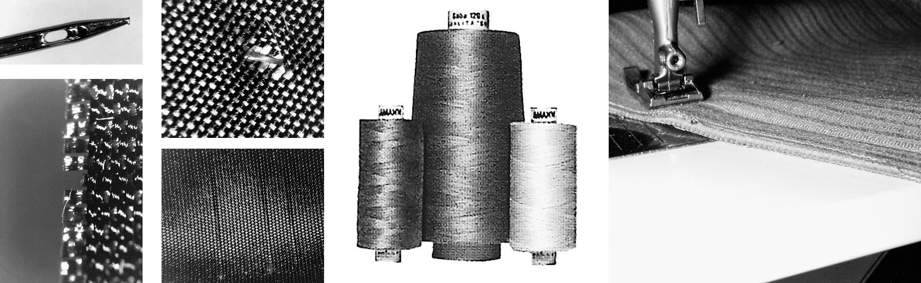 Das Foto zeigt Garn, Nadel, Nähfuß.
