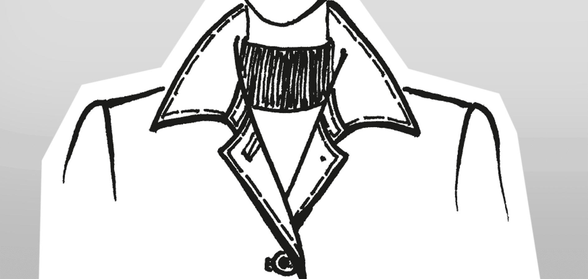 Zu sehen ist die technische Zeichnung eines zweiteiligen Kragens.