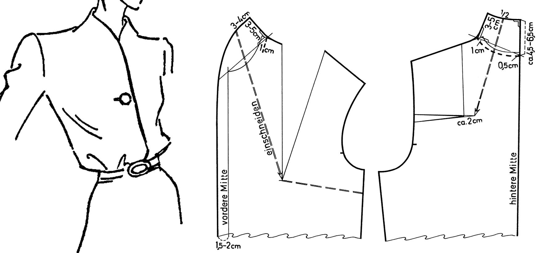Zu sehen ist die Schnittkonstruktion eines angeschnittenen Stehkragens einer Damenbluse.
