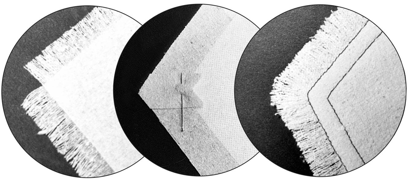 Die drei Abbildungen zeigen ausgefranste Ecken.