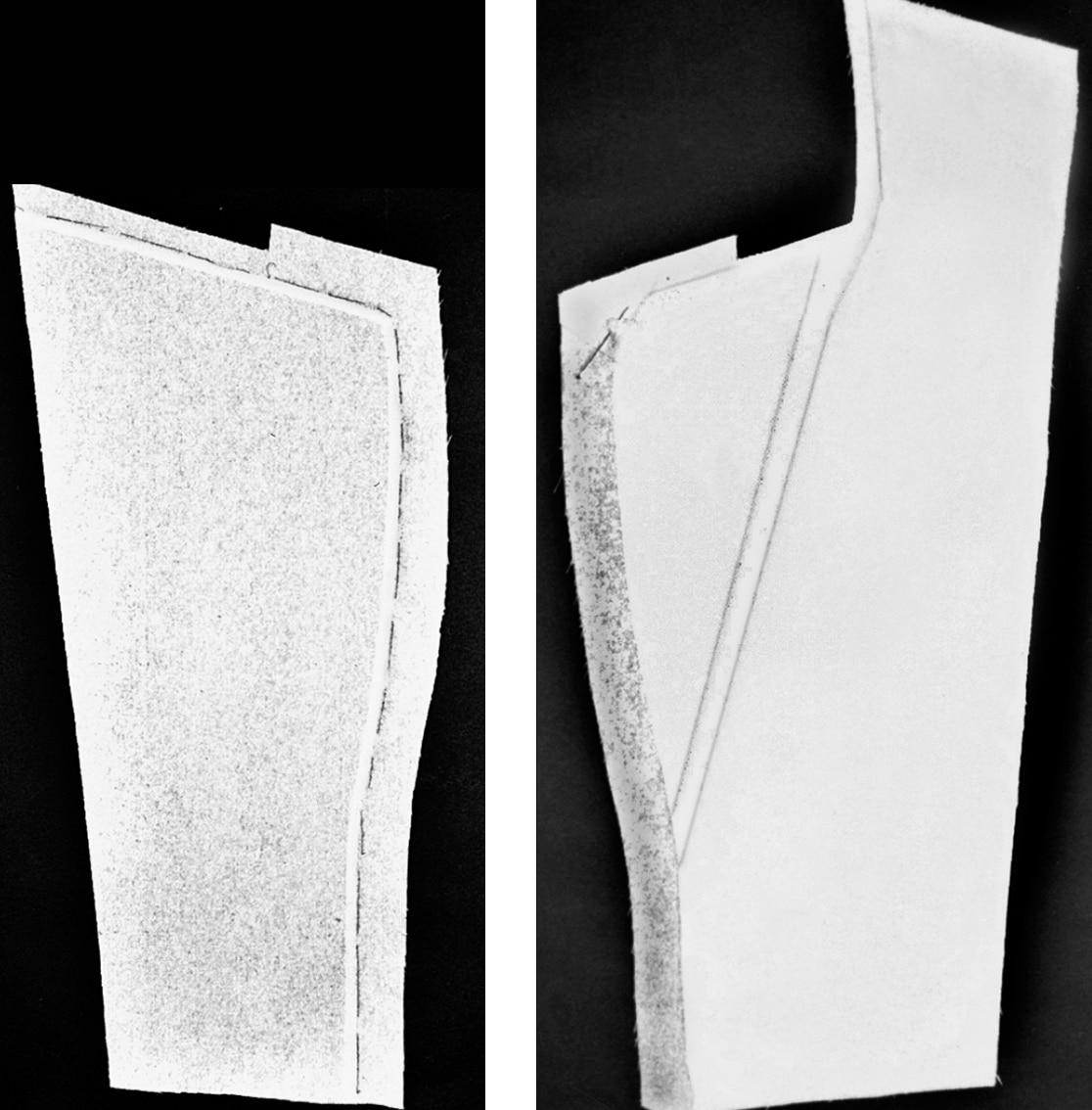 Gezeigt werden die zugeschnitttenen Teile eines Revers mit Fransen