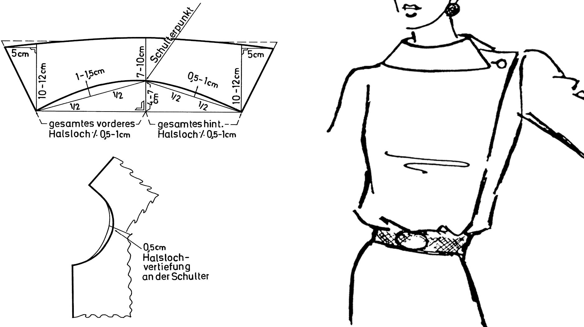 Zu sehen ist die Schnitt-Technik eines einseitig geschlossenen Kragens.