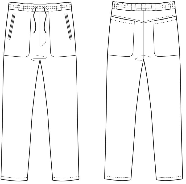 Abgebildet ist die Vorder- und Rückansicht der technischen Zeichnung von einer verkürzten Hose mit aufgesetzten Taschen.