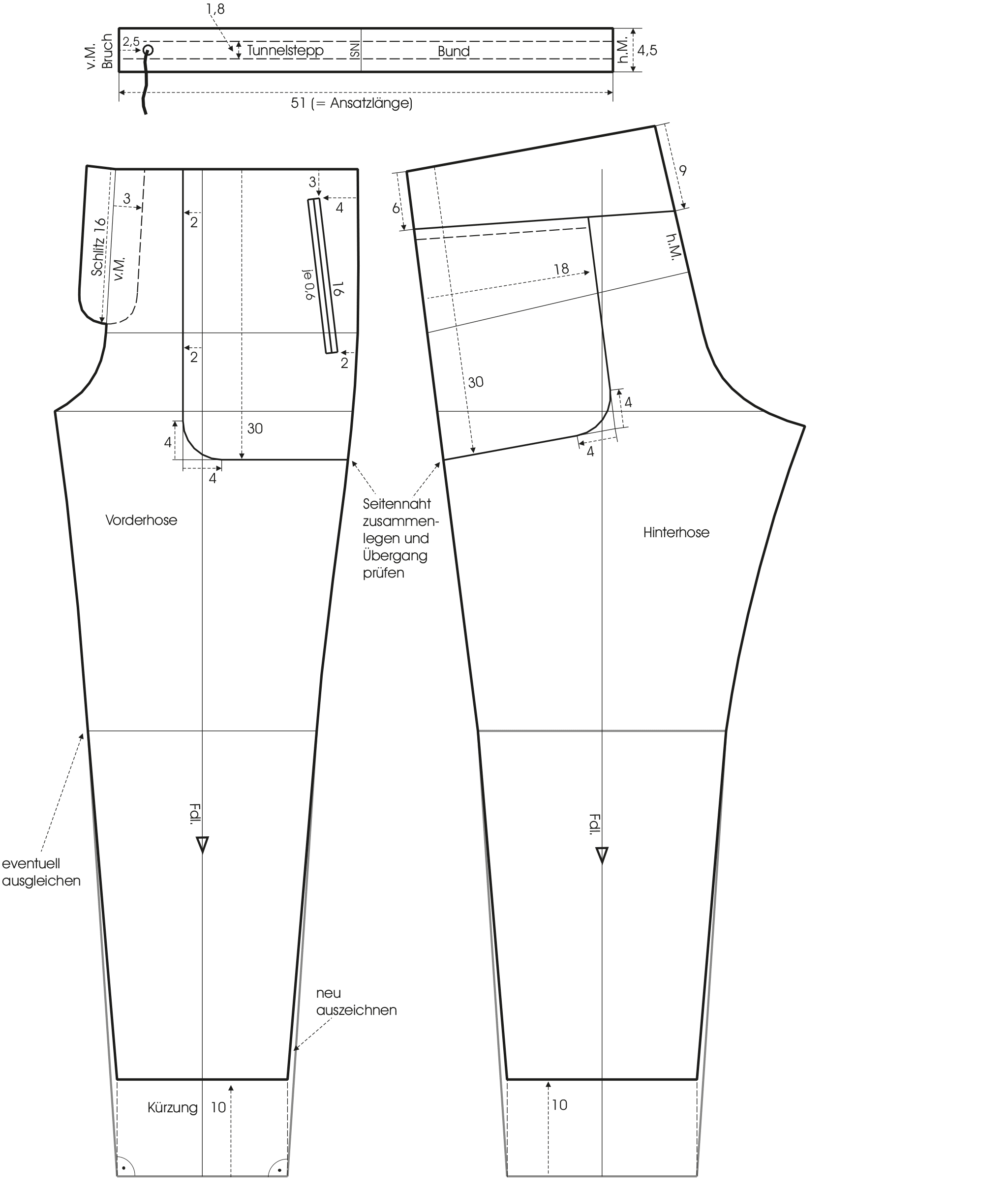 Zu sehen ist die Schnittkonstruktion einer Verkürzte Hose mit aufgesetzten Taschen.