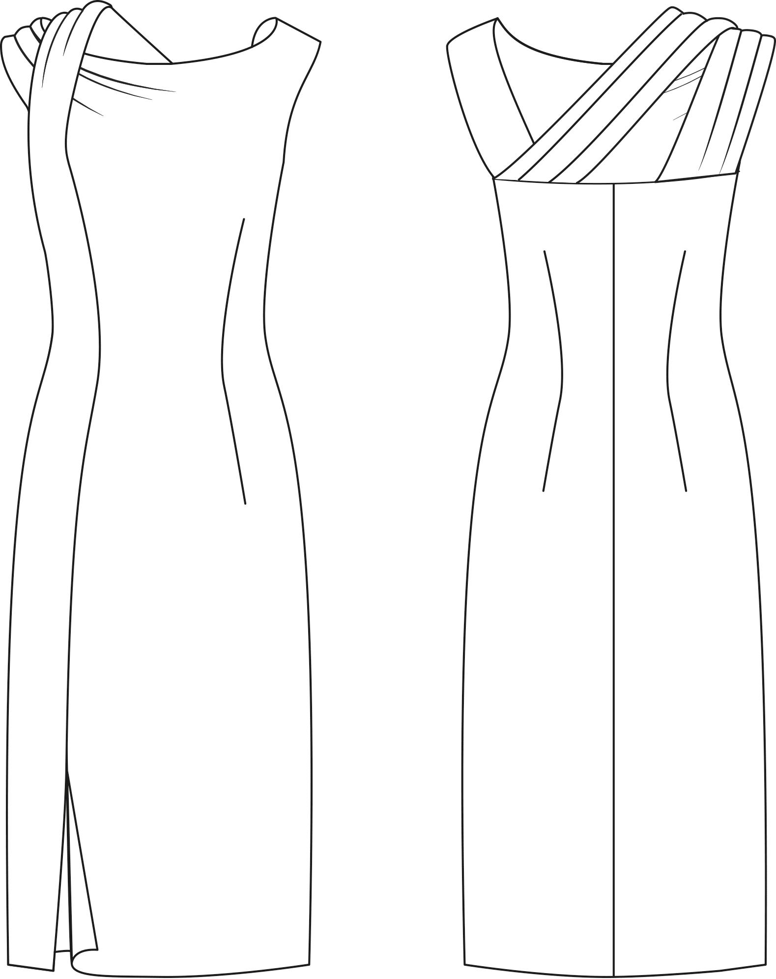 schnittmuster kleid mit schulterdrapierung › m.müller & sohn