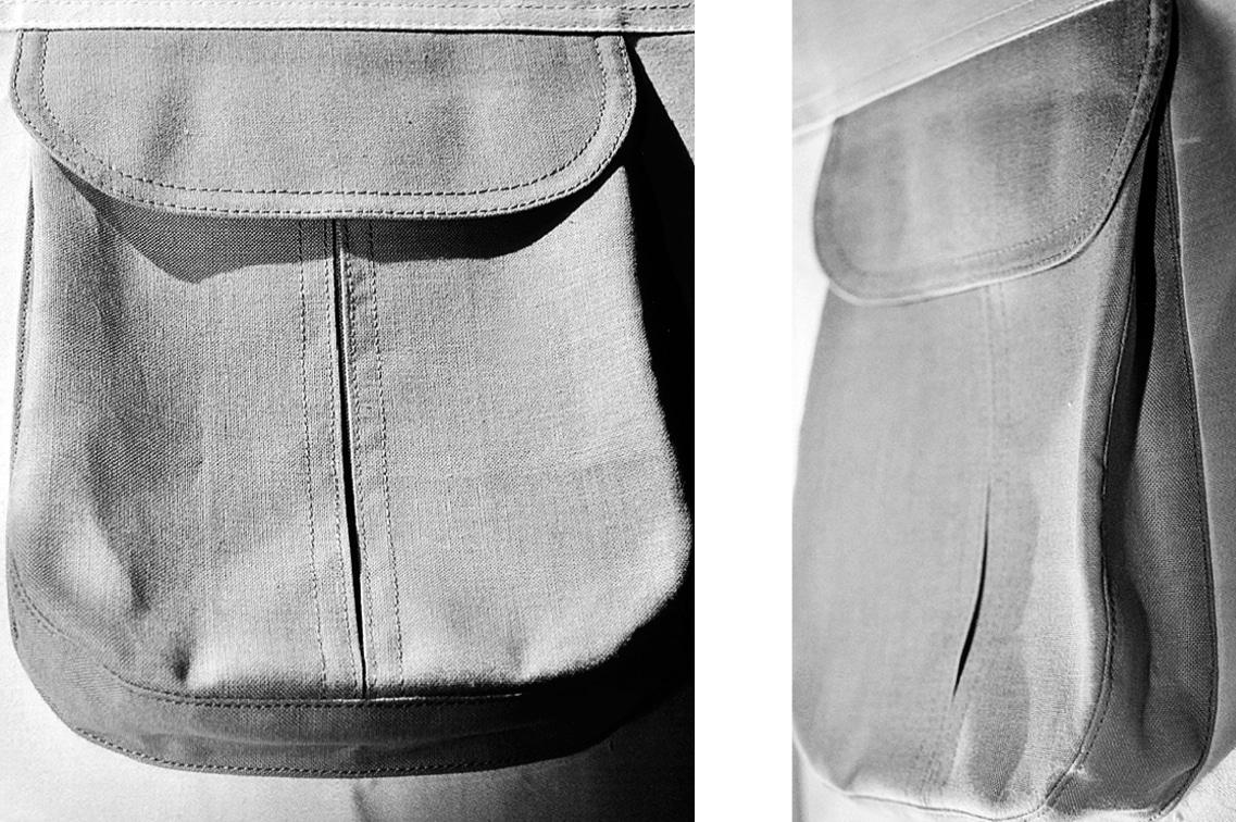 Die fertig genähte Tasche im Blasebalgstil ist abgebildet.