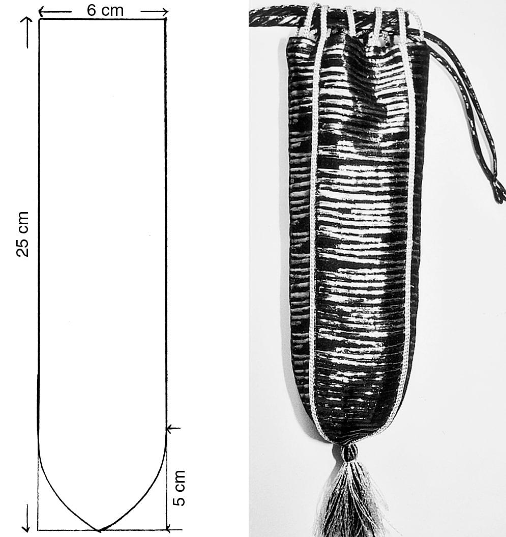 Die Abbildung zeigt den Schnit und das fertige Brillen- oder Handytäschchen.