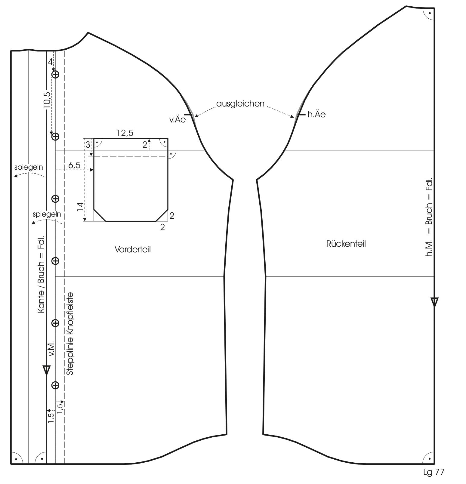 Die Abbildung zeigt die Schnittkonstruktion eines Raglan Hemdes.