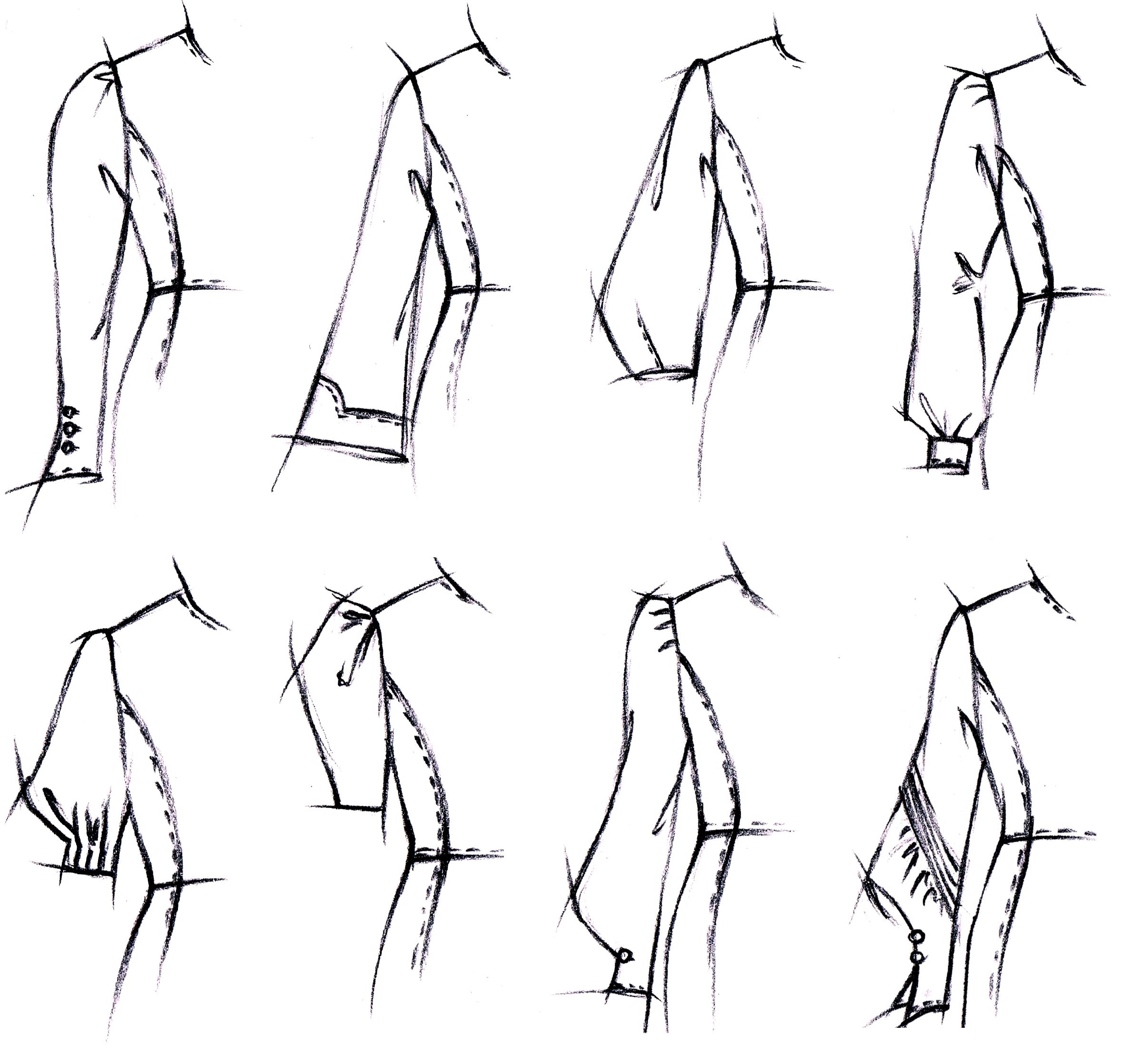 Es werden 8 Zeichnungen von verschiedenen Ärmelvarianten abgebildet die als Vorlage für die Schnittkonstruktion dienen.