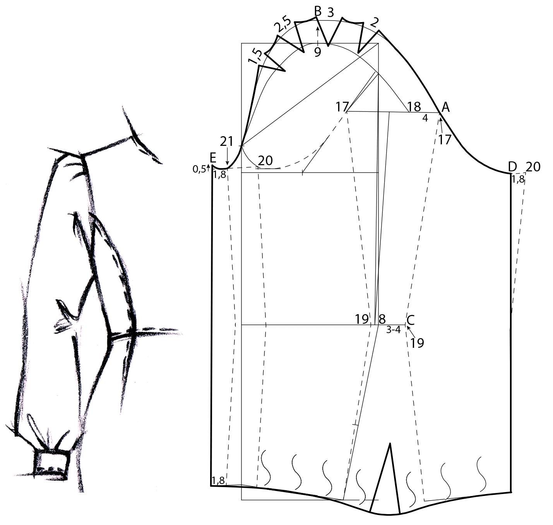 Gezegt wird die Schnitt-Technik von einem Ärmel mit Bündchen und Puffärmel.