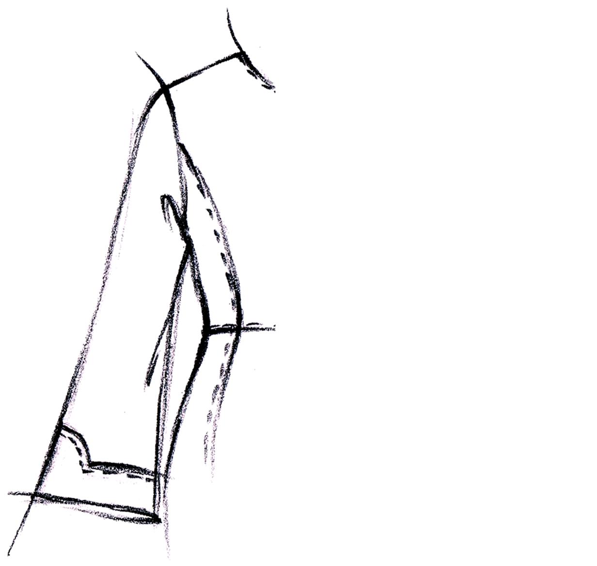 Zu sehen ist die Modellzeichnung eines Ärmels, der als Vorlage dient für die Schnitt-Technik.
