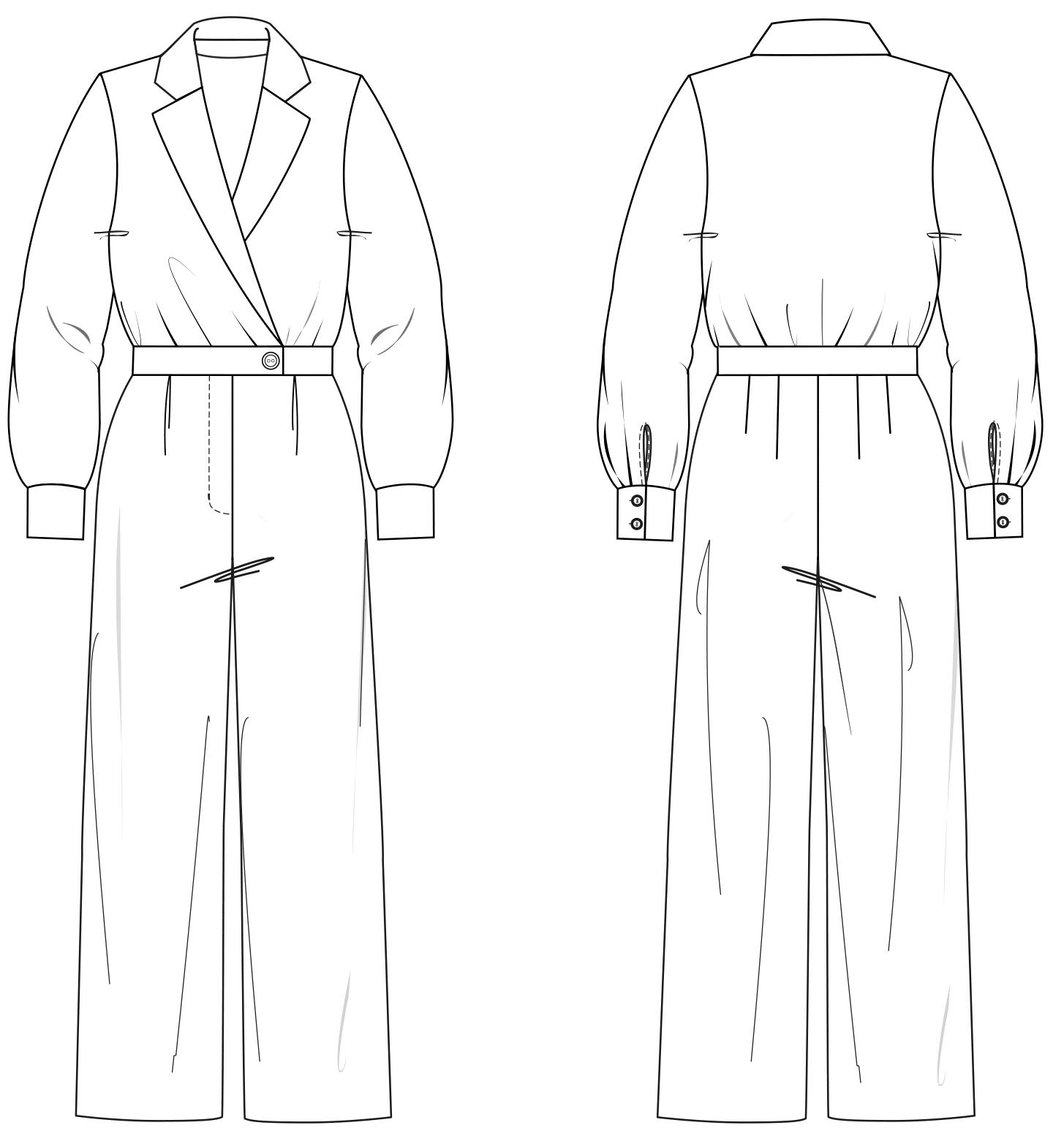 Zu sehen ist die technische Zeichnung der Vorder- und Rückansicht eines Overalls im Business-Look. Sie dient als Vorlage für die Schnitt-Technik.