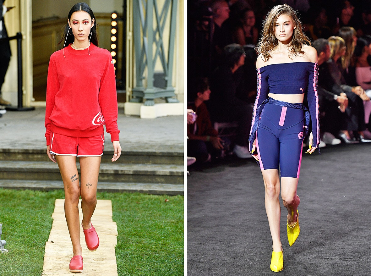 Das Foto zeigt Models auf dem Catwalk die Sportbekleidung tragen. Die Fotos dienen als Vorlage für den Schnitt auf dem Schnittmusterbogen.