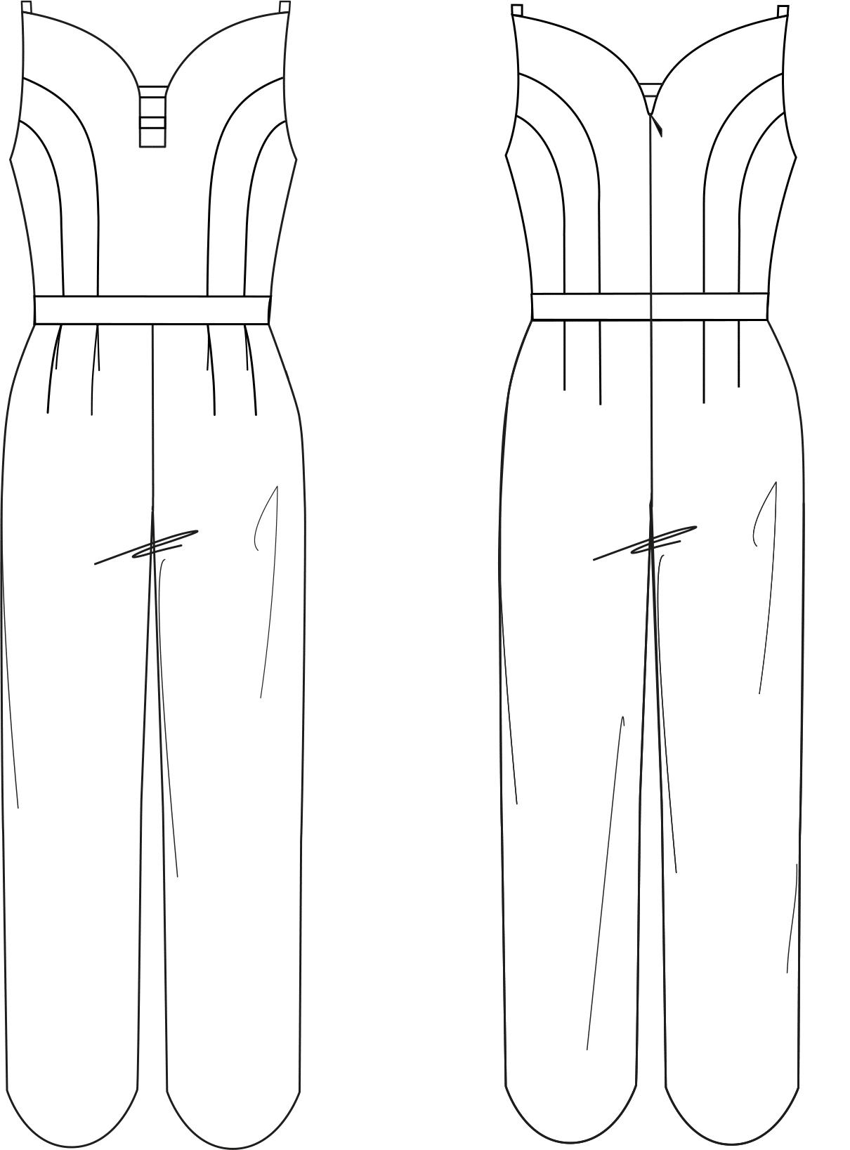 Zu sehen ist die technische Zeichnung der Vorder- und Rückansicht eines Overalls in Herz Form. Sie dient als Vorlage für die Schnitt-Technik.