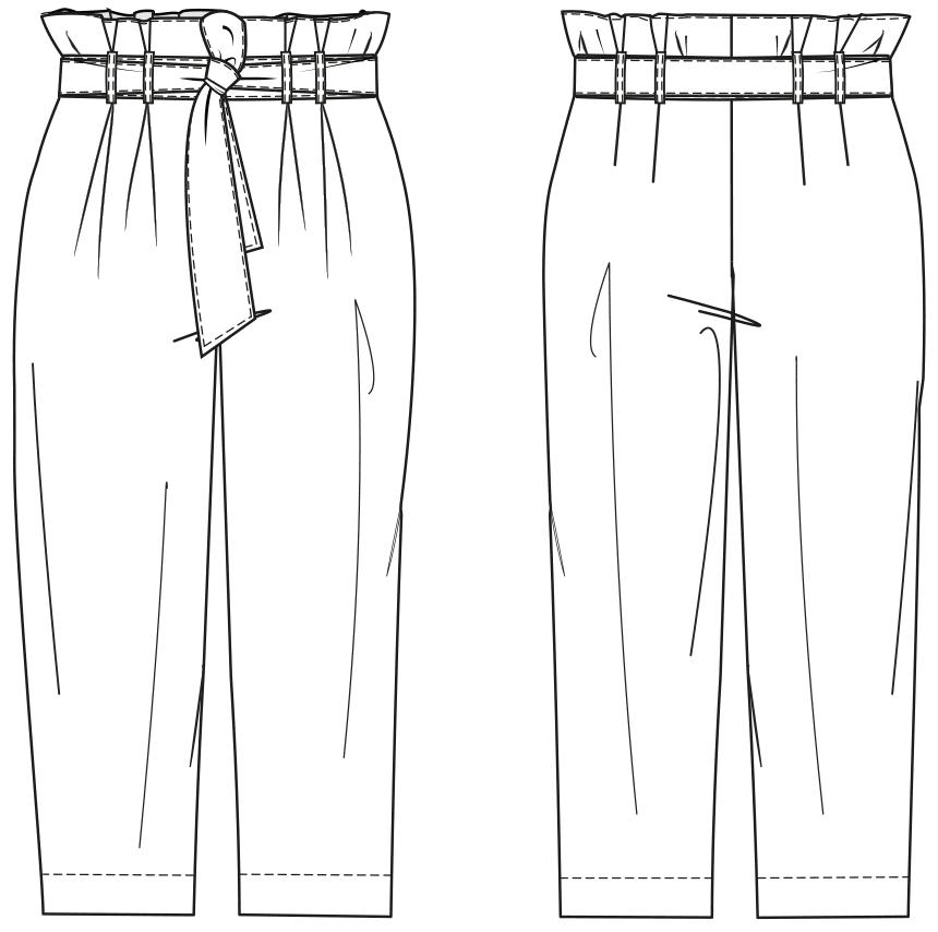 Gezeigt wird die Vorder- und Rückansicht einer technischen Zeichnung für eine High-Waist-Paperbag Hose. Sie dient als Vorlage für de Schntitkonstruktion.