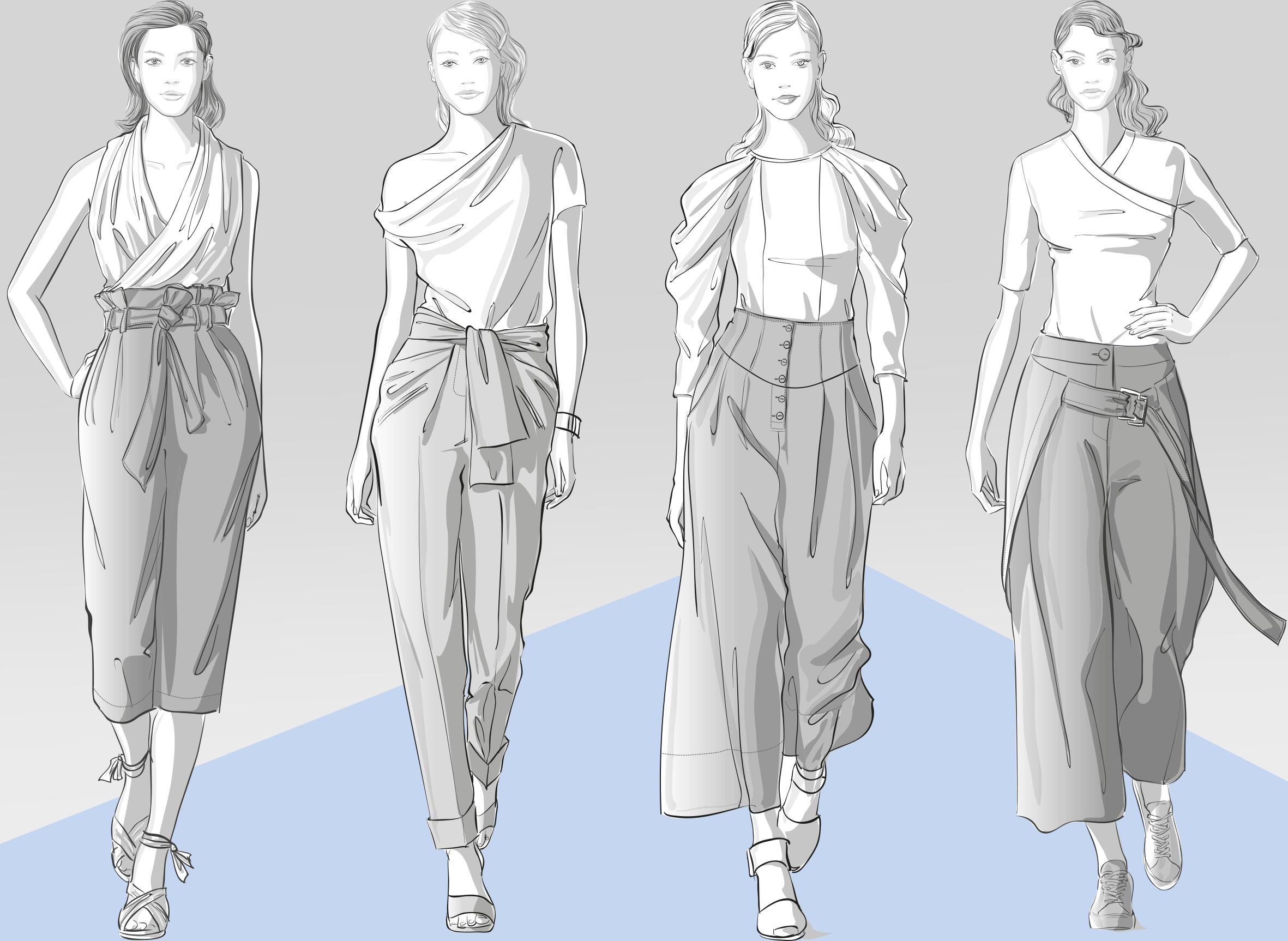 Abgebildet sind 4 Modellzeichnungen von Frauen in den Hosenmodellen, die als Vorlage für die Schnitt-Technik dienen.