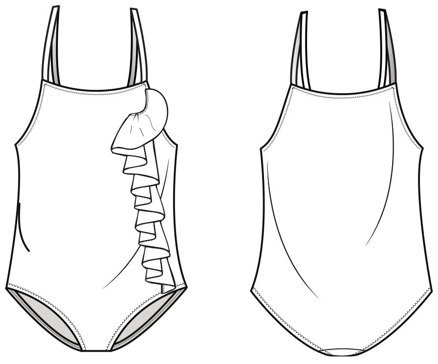 Das Foto zeigt die technische Zeichnung eines Badeanzuges für Kinder. Die Zeichnung dient als Vorlage für die Schnitttechnik.