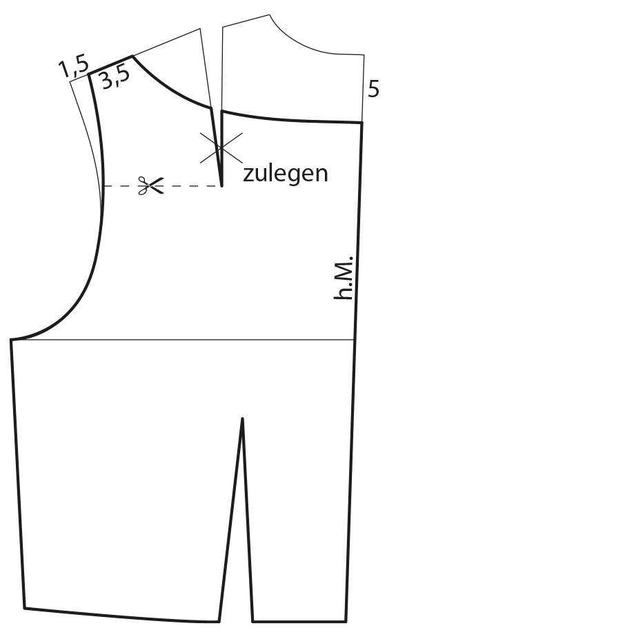 Zu sehen ist die Schnittkonstrukton eines Kleides im Retro-Look.