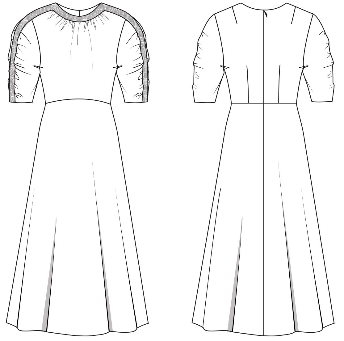 Die Abbildung zeigt die Vorder- und Rückansicht einer technischen Zeichnung. Abgebildet ist ein Kleid im Retro-Look, sie dient als Vorlage für die Schnitt-Technik.