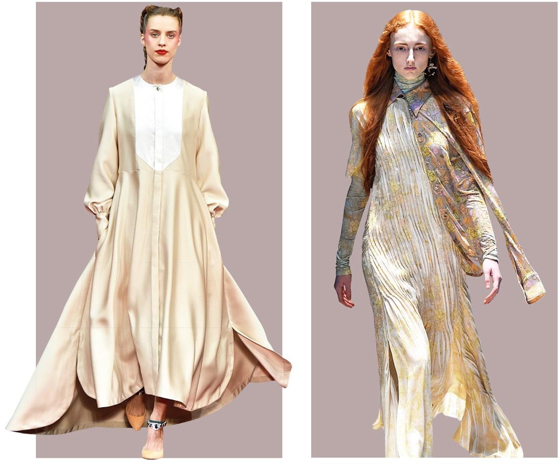 Zu sehen sind zwei Models mit einem weißen Kleid passend zu den Farbtrends 2019.