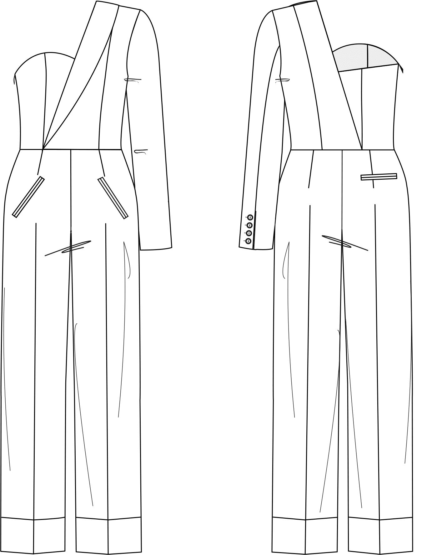 Zu sehen ist die technische Zeichnung der Vorder- und Rückansicht eines Overalls im Off Shoulder Look. Sie dient als Vorlage für die Schnitt-Technik.