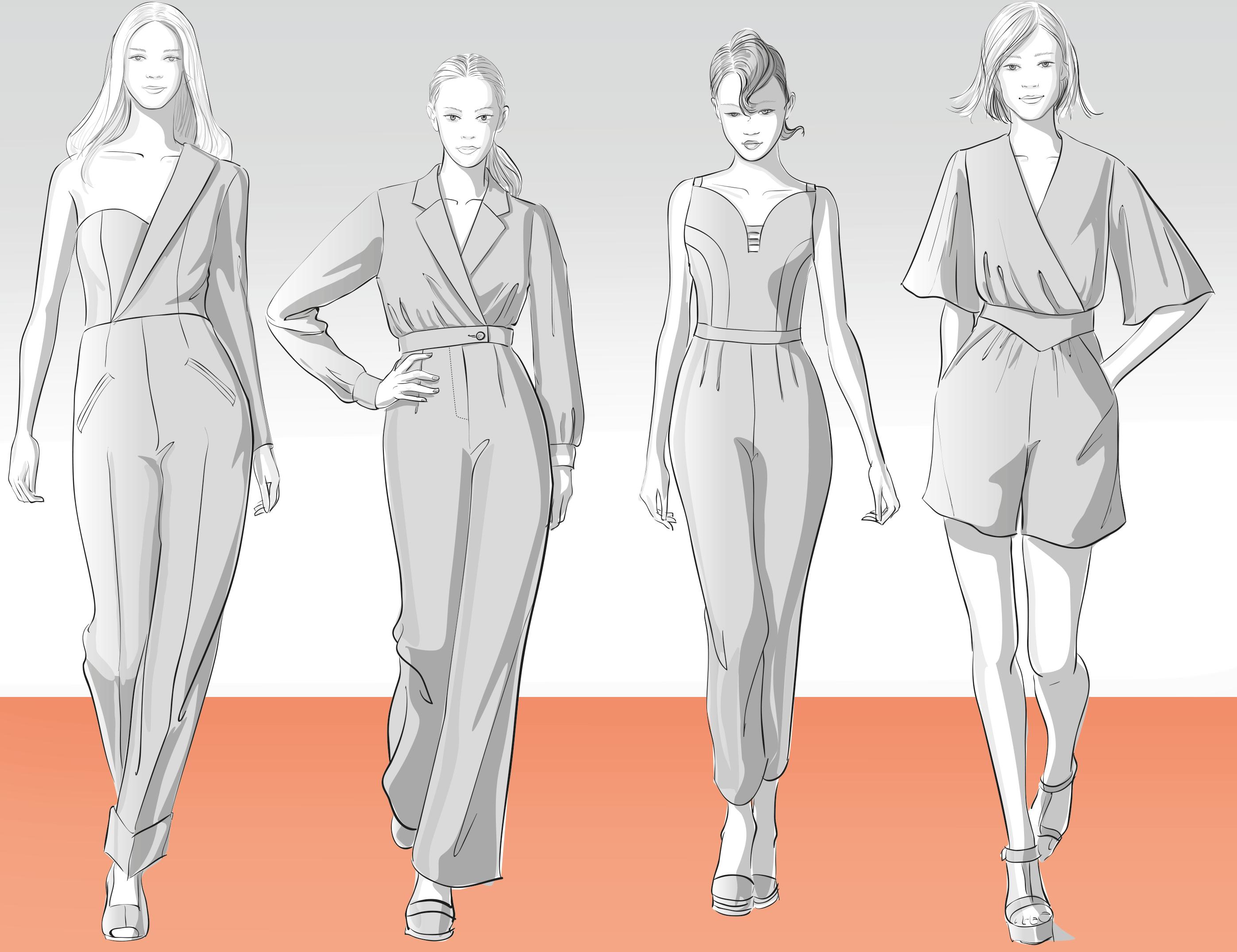 Zu sehen sind vier Modellzeichnungen von Overalls, sie dienen als Vorlage für die Schnitt-Technik.