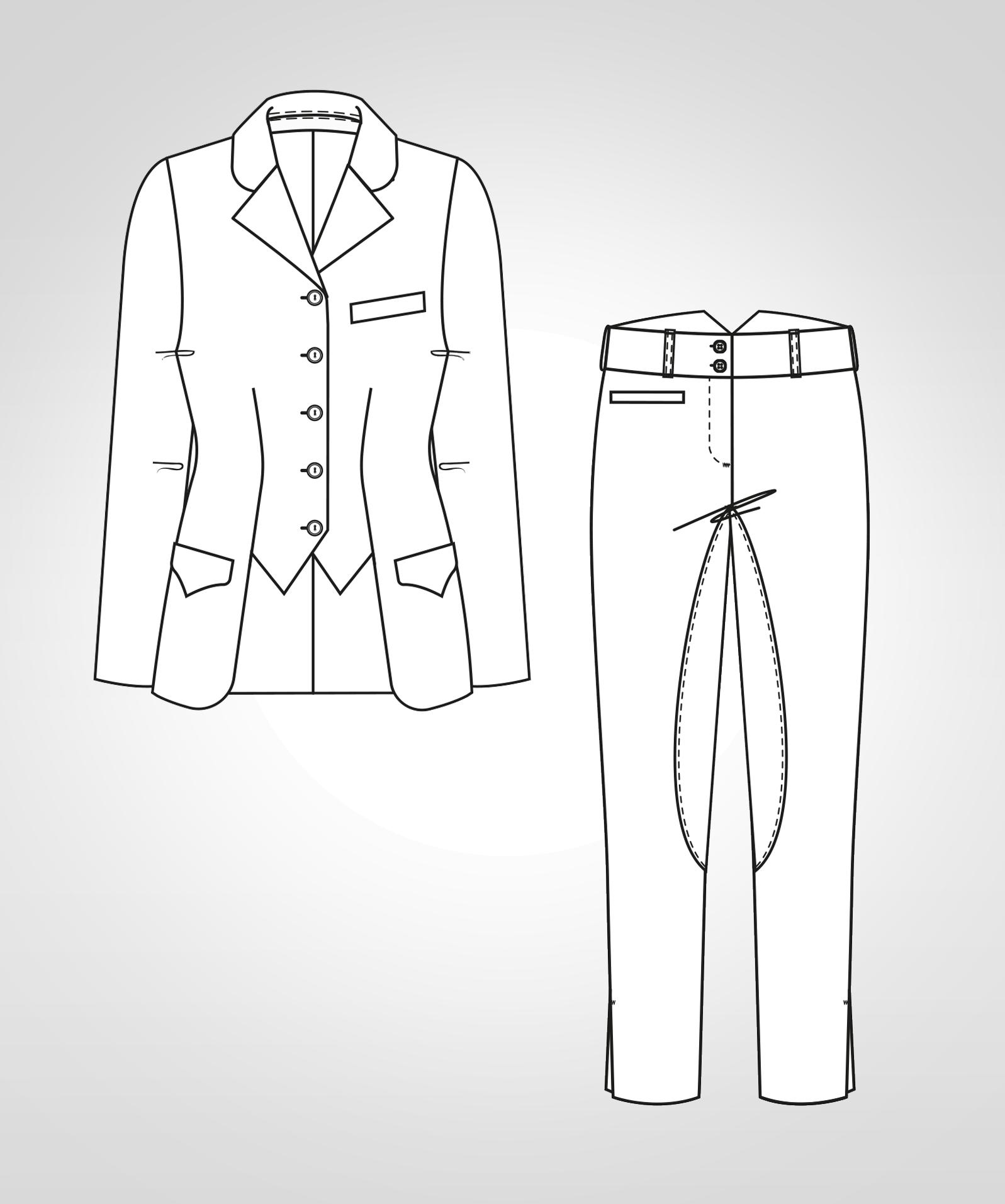 Diese Abbildung zeigt die Vorder- und Rückansicht einer technischen Zeichnung von einer Reitjacke und Reithose. Sie dient als Vorlage für ein Schnittmuster auf einem Schnittmusterbogen von Müller und Sohn.